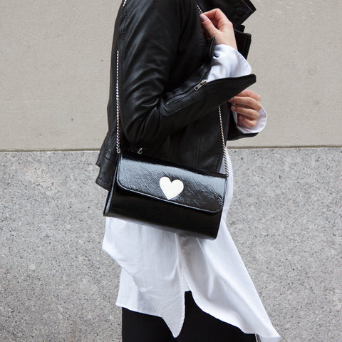 Mich Shoulder Bag Cracked Black Patent Leather w/ White Heart - erindananewyork - 2