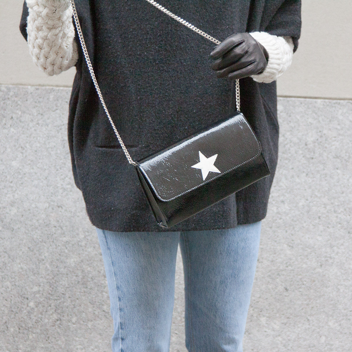 Mich Shoulder Bag Cracked Black Patent Leather w/ White Star - erindananewyork - 3
