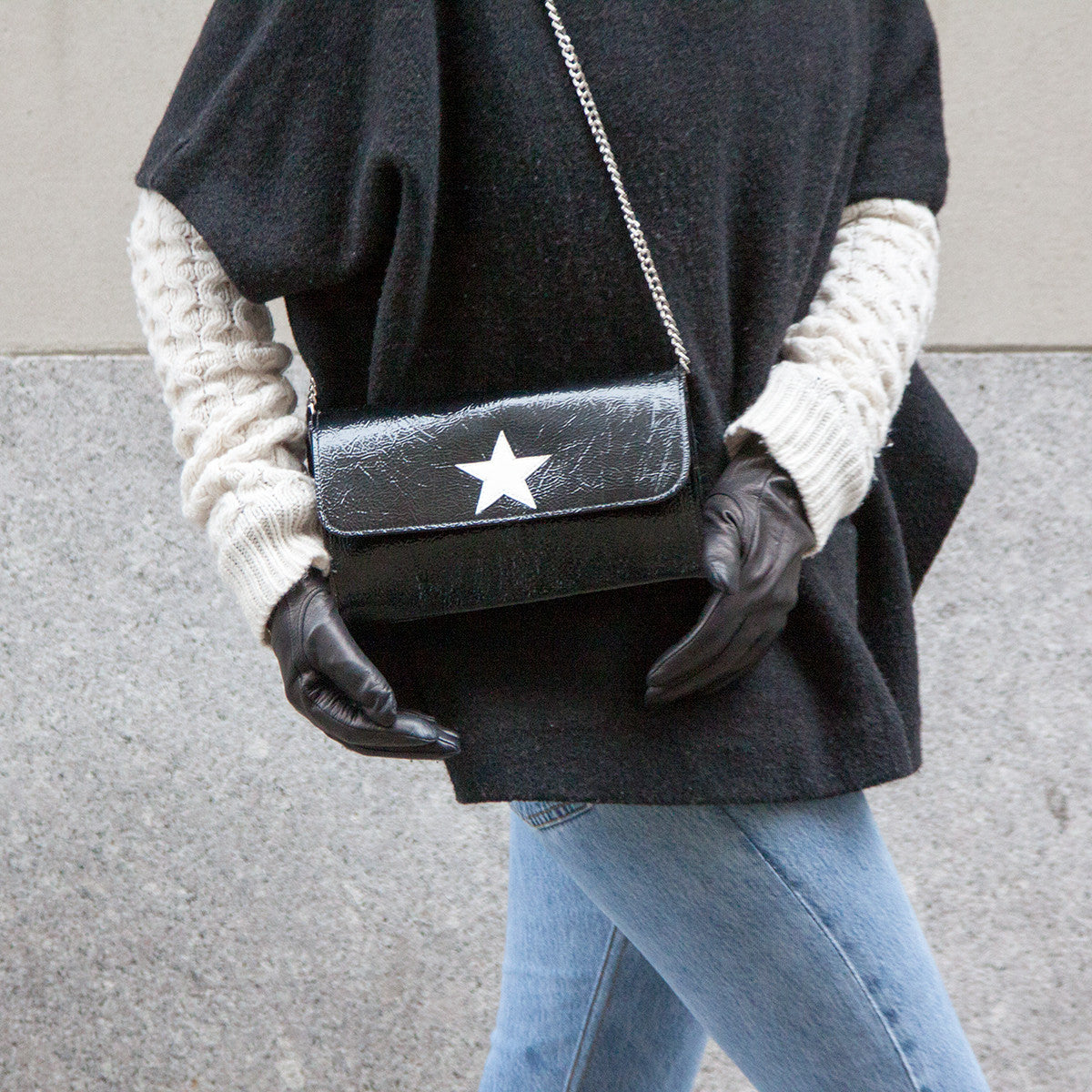 Mich Shoulder Bag Cracked Black Patent Leather w/ White Star - erindananewyork - 2