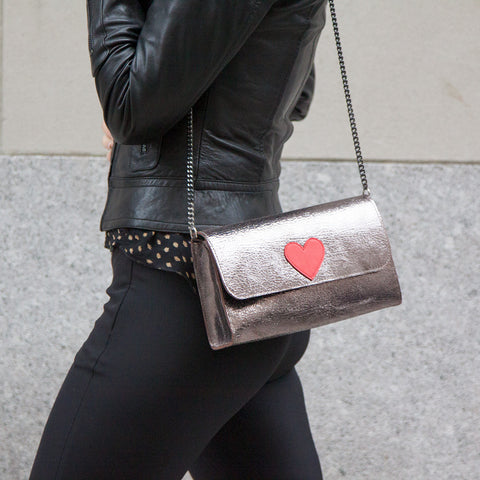 Mich Shoulder Bag Cracked Metallic Bronze w/ Red Heart - erindananewyork - 3