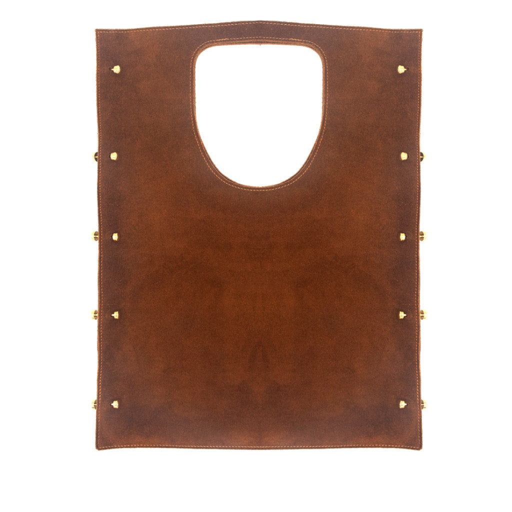 Robyn Tote Tobacco Suede with Threaded Gold Bars - erindananewyork - 2