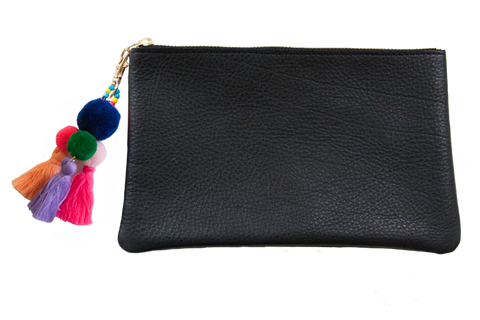 Sophie Pouch Black Leather w/ Navy Pom Pom Zipper