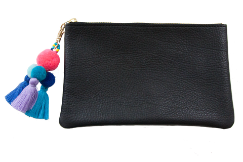 Sophie Pouch Black Leather w/ Hot Pink Pom Pom Zipper