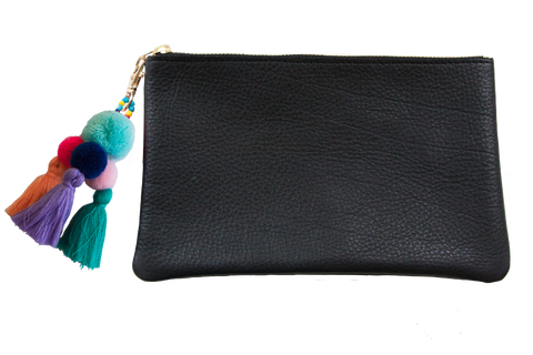 Sophie Pouch Black Leather w/ Sky Blue Pom Pom Zipper