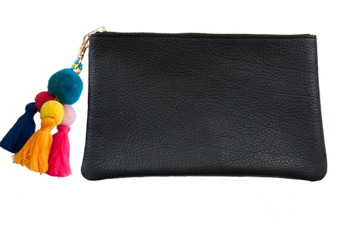 Sophie Pouch Black Leather w/ Teal Pom Pom Zipper