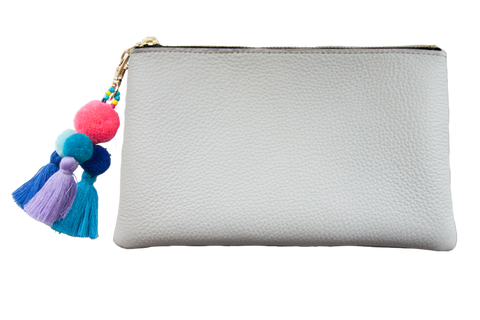 Sophie Pouch White Leather w/ Hot Pink Pom Pom Zipper