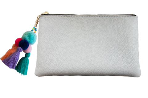 Sophie Pouch White Leather w/ Sky Blue Pom Pom Zipper