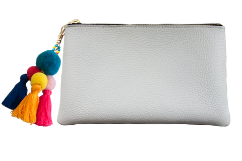 Sophie Pouch White Leather w/ Teal Pom Pom Zipper