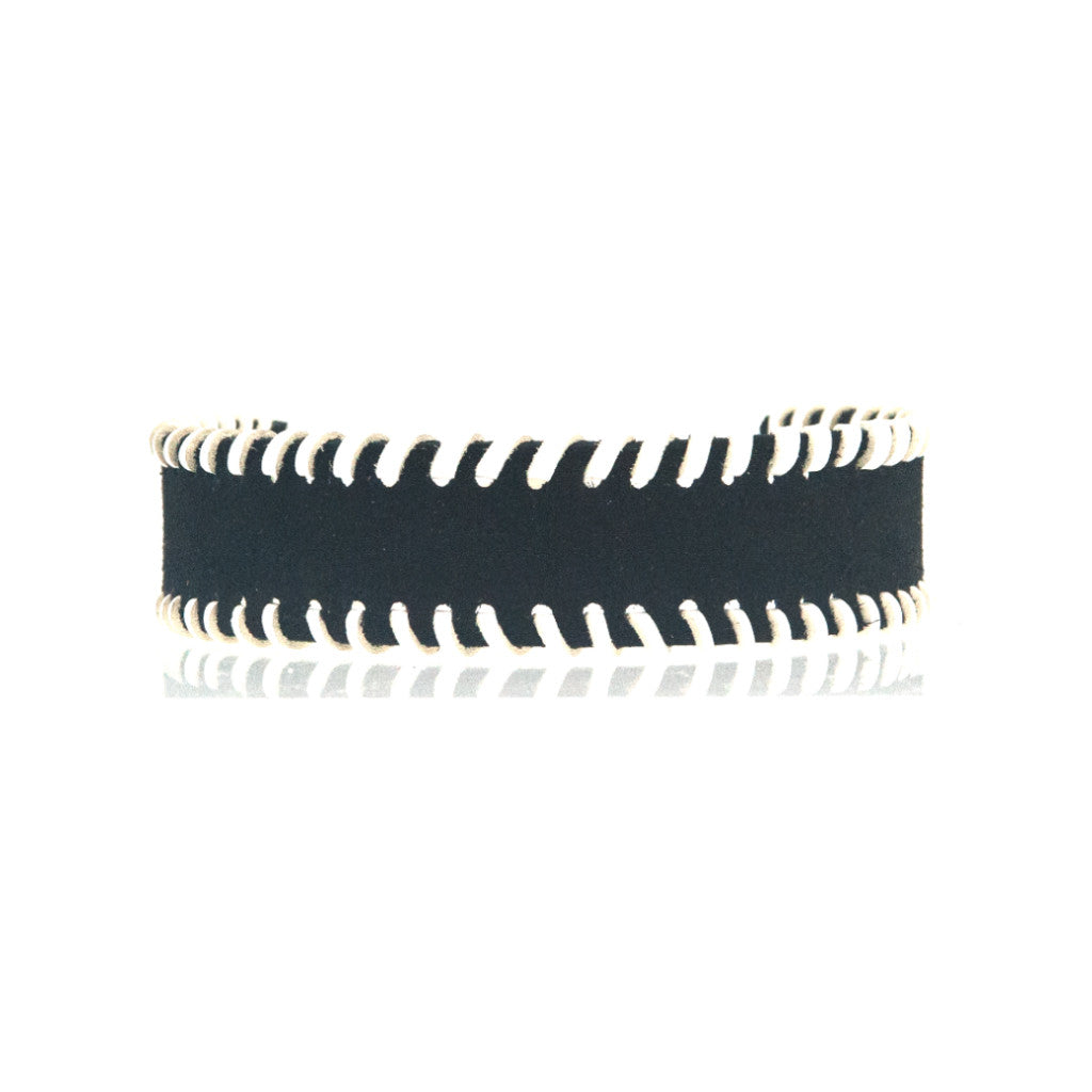 Whipstitch Bowtie Choker Black Suede with White - erindananewyork - 1