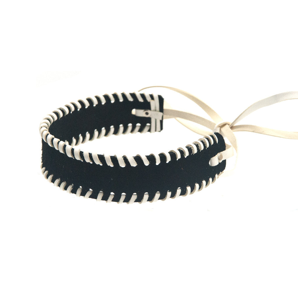 Whipstitch Bowtie Choker Black Suede with White - erindananewyork - 2