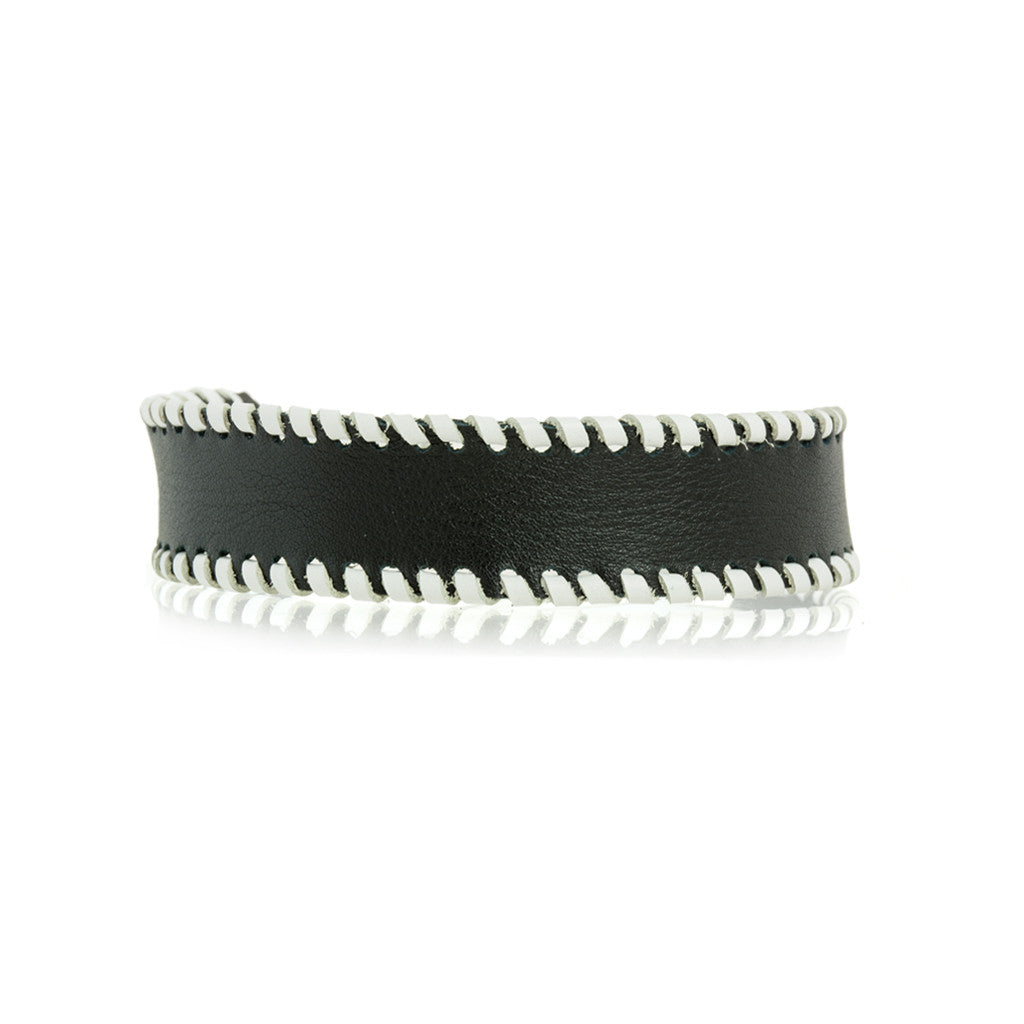 Whipstitch Bowtie Choker Black with White - erindananewyork - 1