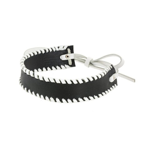 Whipstitch Bowtie Choker Black with White - erindananewyork - 2