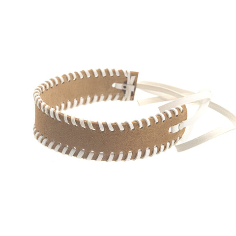 Whipstitch Bowtie Choker Tan Suede with White - erindananewyork - 2