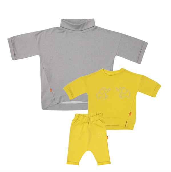 Organic Mommy & Me Set (Grey/Yellow)