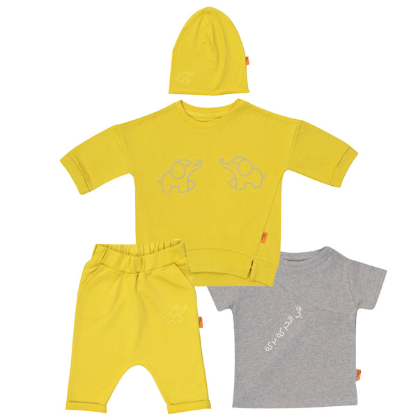 Organic Yellow Sports Set 4 pieces (6mths-4yrs)