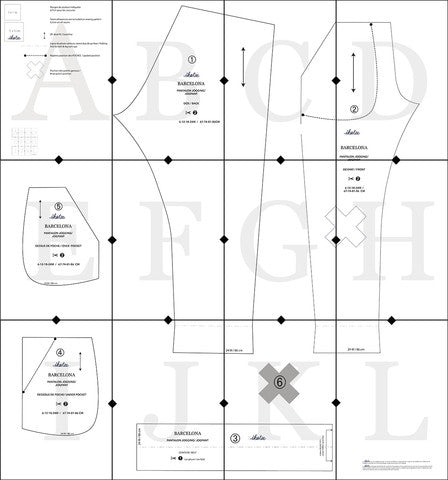 Example of a sewing pattern of 12 pages