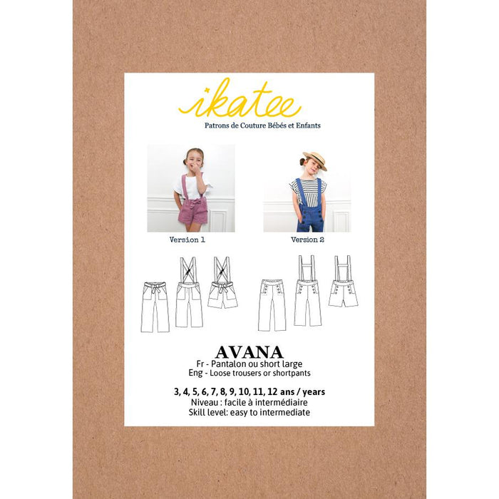 AVANA pants or shortpants- Girl 3/12 - Paper Sewing Pattern