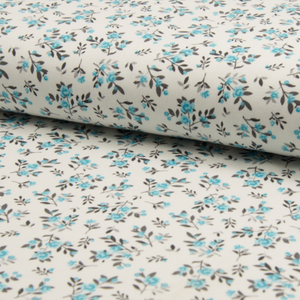 Printed Interlock stretch fabric - Small flowers blue