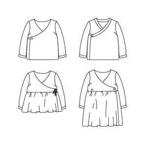 DUBLIN Cardigan or dress - Baby 1M/4Y - Paper Sewing Pattern