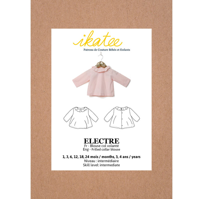 ELECTRE frilled collar Blouse - Baby 1M-4Y- Paper Sewing Pattern