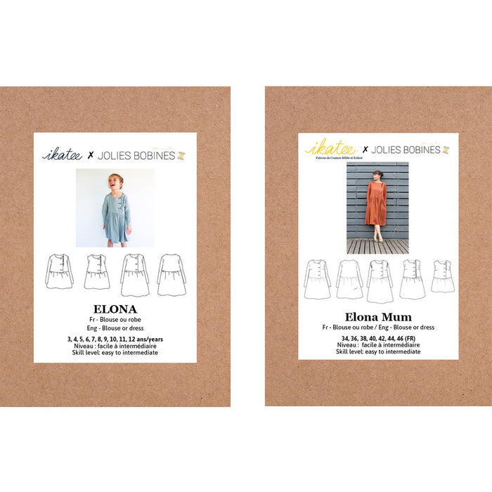 Duo ELONA - Girl and Mum -blouse & dress  - 2 Paper Sewing Patterns