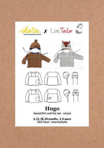 Hugo sweatshirt + hat set -  Baby 6M/4Y - Paper Sewing Pattern