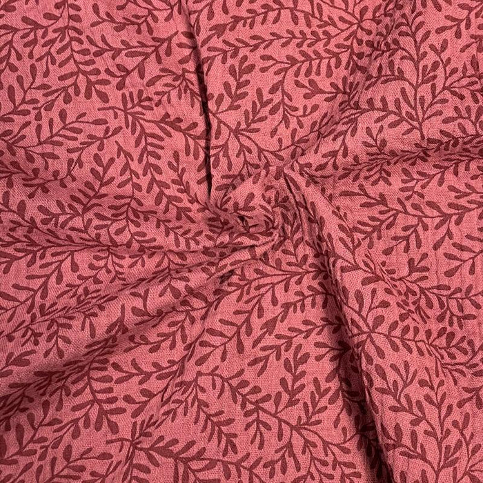 Organic double gauze fabric - LEAVES - Terra cotta
