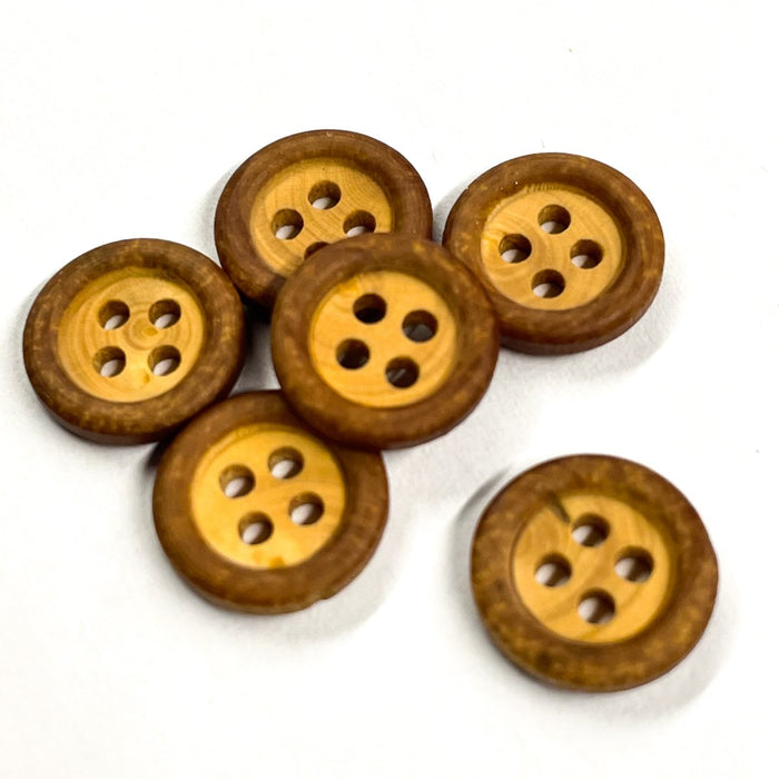 Fancy wood buttons (by one) - Wood/Biscuit - 12 mm