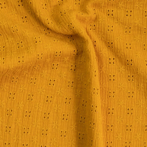 Double gauze fabric / English embroidery - Ochre