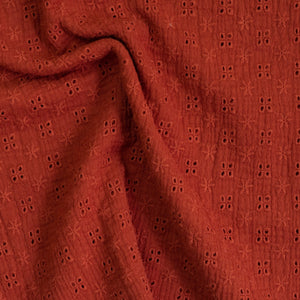 Double gauze fabric / English embroidery - Rust