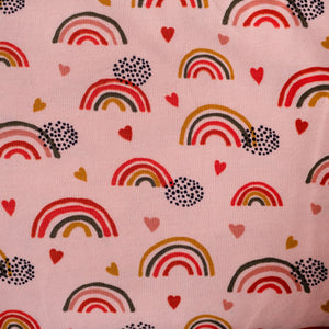 Organic stretch cotton jersey - Rainbow - Pink