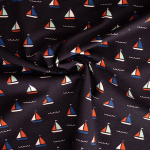 Stretch jersey - Sailing boat - Blue