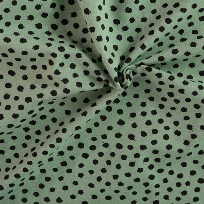 Organic stretch jersey - Dots - Green