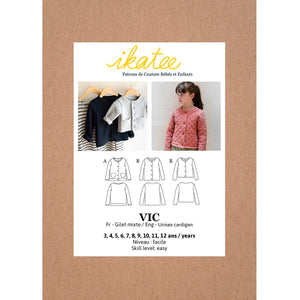 VIC unisex Cardigan - Kids 3/12Y - Paper Sewing Pattern