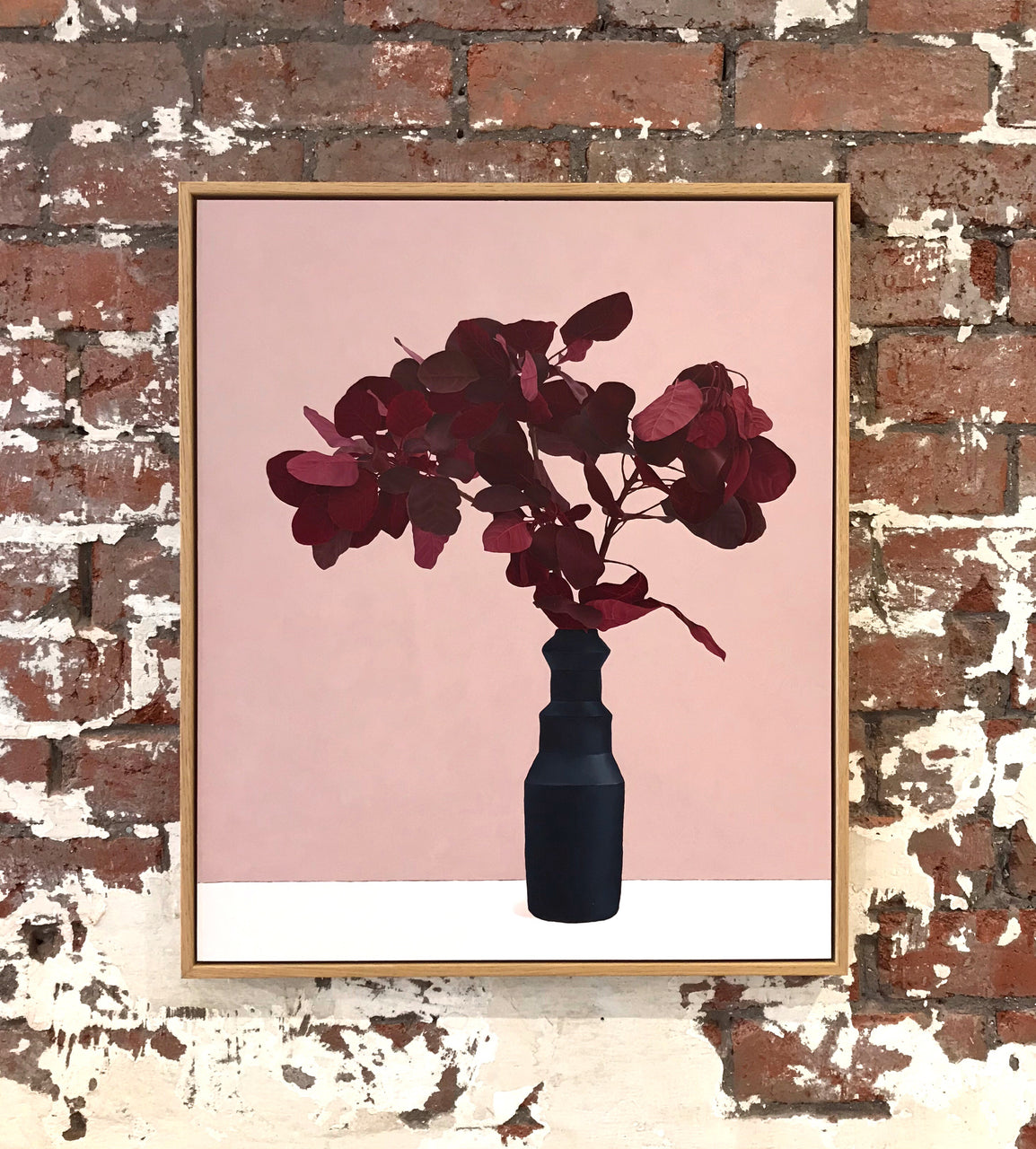 Red Leaves With Black Vase - Sarah Hassett