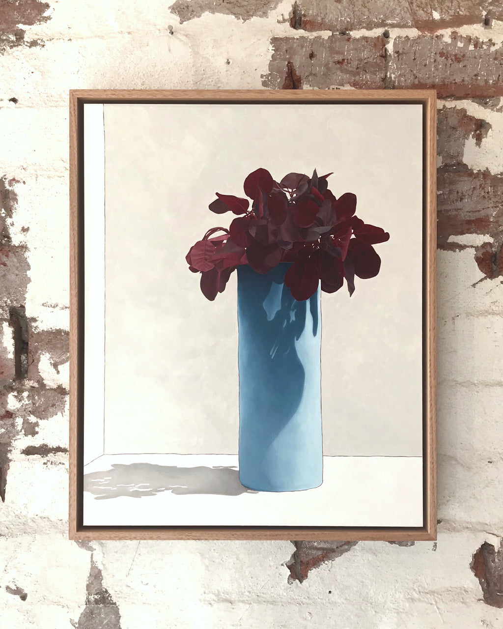 Red Leaves With Blue Vase - Sarah Hassett