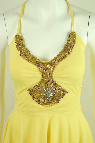 Affordable Yellow Beaded Formal Prom, Homecoming, bridesmaids Dress