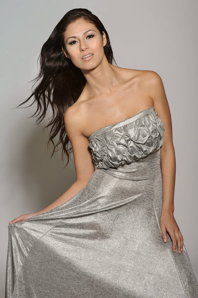 Affordable Strapless Hand Gathered Long Formal Gown