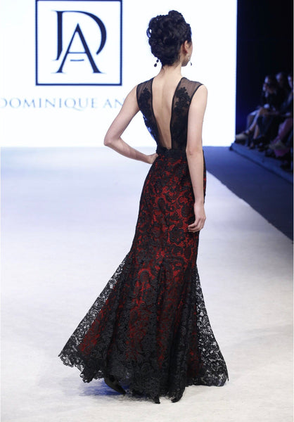Organza Lace Embroidered top with Red lining and Black Lace Gown
