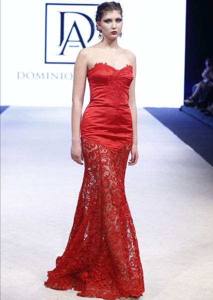 Red Satin and Lace Bustier Embroidered Gown