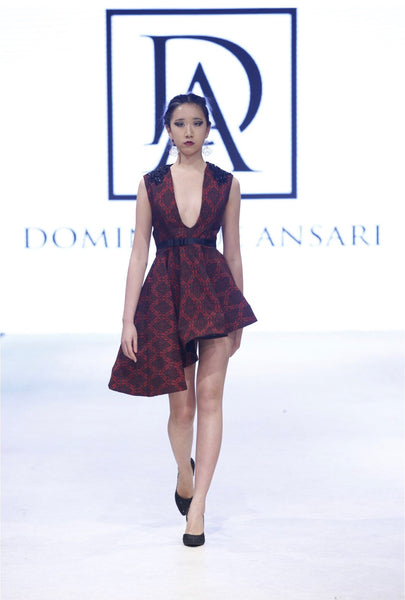 Damask Red and Black Print Dress