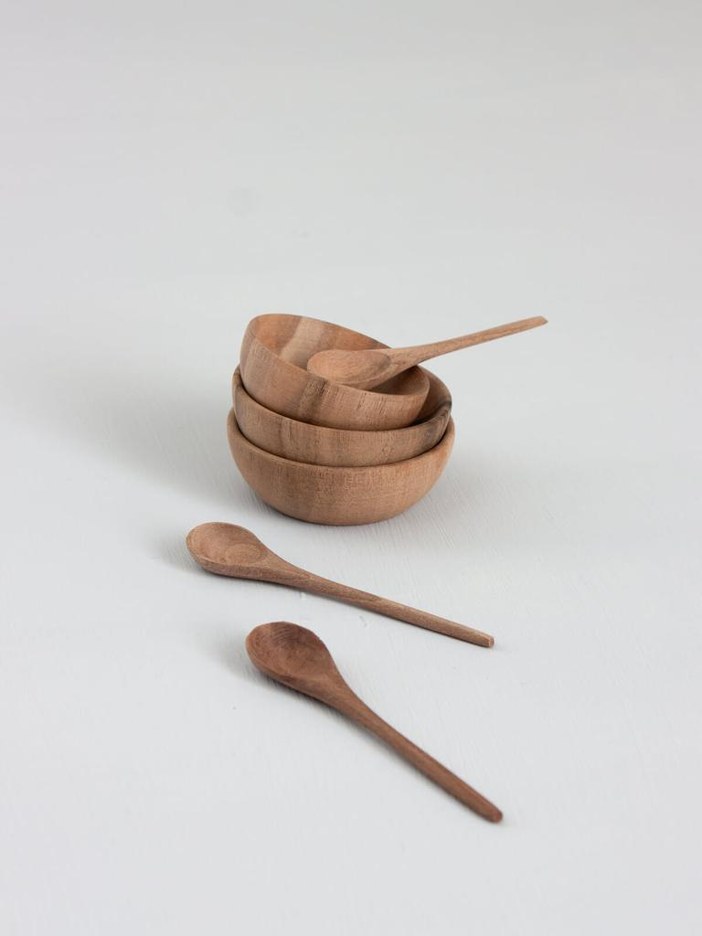 Walnut Wood Spice Bowl and Spoon Set - BTS CONCEPT STORE