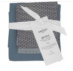 Organic Company Kitchen Towel + Wash Cloth Gift Set - Ocean