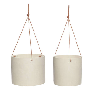 Sand Ceramic Hanging Pot with Leather Strap - Small