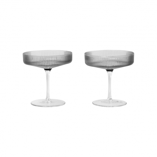 Ferm Living Grey Ripple Glass Champagne Saucers S/2 - BTS CONCEPT STORE