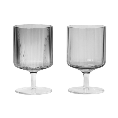 Ferm Living Grey Ripple Wine Glasses - Set/2 - BTS CONCEPT STORE