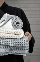 Load image into Gallery viewer, Big Waffle Organic Towel + Blanket Natural White