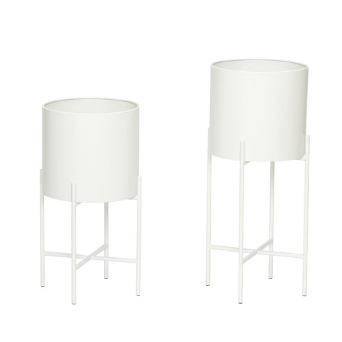 White Metal Plant Pots with Legs - set/2