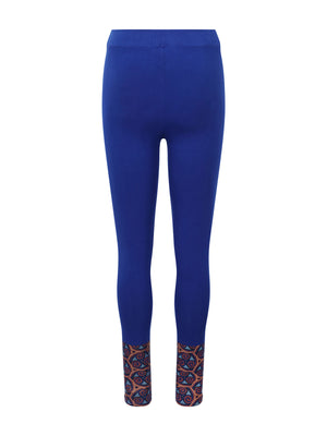 Adorned Ankle Leggings Blue