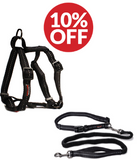 Dog Accessory Combo Pack:  Black H-Harness + Black Bungee Running Leash (SAVE 10%)